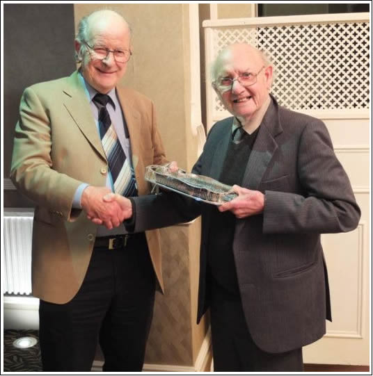 Barry Roberts receiving his trophy from Club President Jack Swindlehurst in January 2017